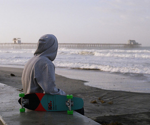 boy, skate, and beach image