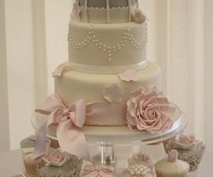 cake, rose, and wedding image