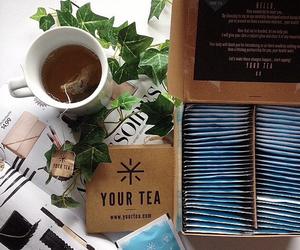 box, cup, and tea image