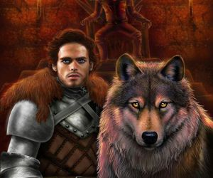 game of thrones, robb stark, and grey wind image