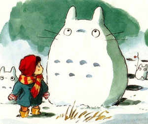 totoro and snow image
