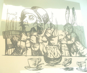 alice and wonderland, tea, and the mad hatters tea party image