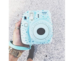 polaroid, camera, and blue image