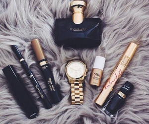 black, makeup, and watch image