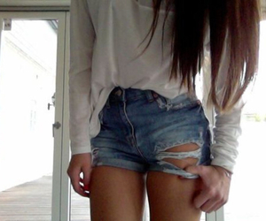 outfit, white, and short shorts image