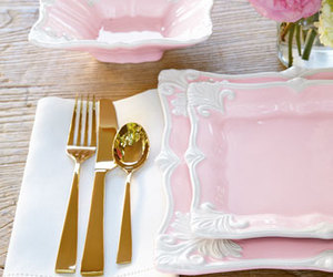 girly, gold, and pink image