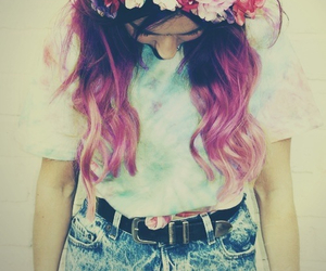 hair, hipster, and pink image