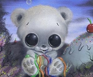 rainbow, teddy bear, and sugar fueled art image