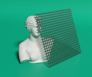 green, minimal, and statue image