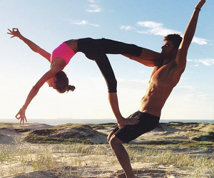 couple, fitness, and beach image