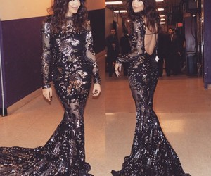 evening gown, lace dress, and lace gown image