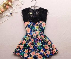 dress, flowers, and fashion image