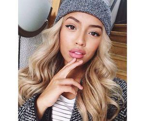 blonde, hair, and beanie image