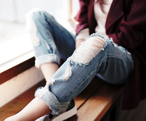 kfashion, ripped jeans, and ulzzang image