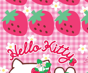 hello kitty, strawberries, and wallpaper image