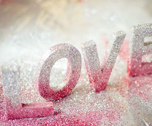 word love and letters with glitter image