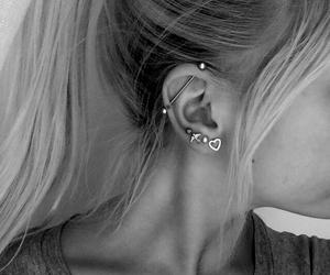 piercing, earrings, and black and white image