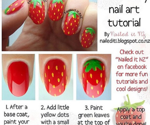 nails, strawberry, and tutorial image