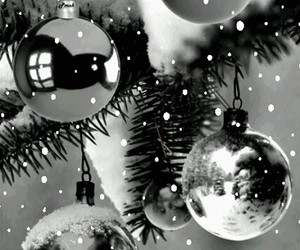 black and white, chistmas, and ornaments image