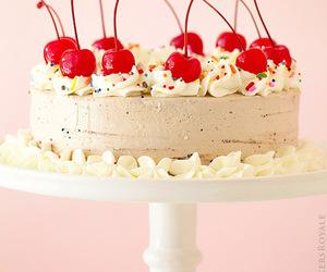 cake, cherry, and dessert image