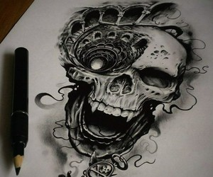 skull, art, and draw image