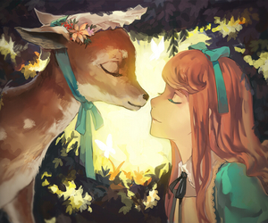 anime, animal, and deer image