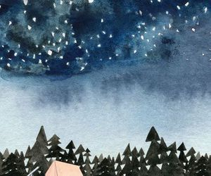 stars, draw, and forest image