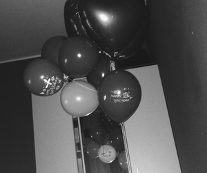 ballons, birthday, and black and white image