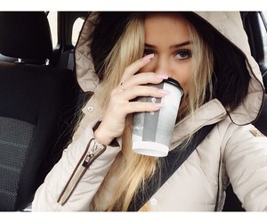 blonde, car, and coffe image