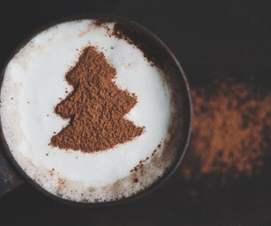 christmas tree, coffee, and delicious image