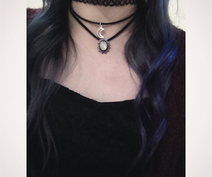 chokers, crystals, and soft grunge image