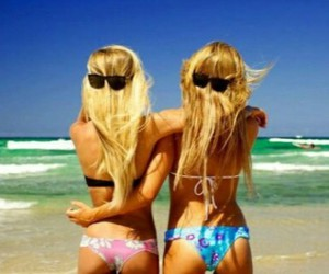 beach, blonde, and glasses image
