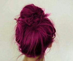 beautiful, bun, and dark pink image