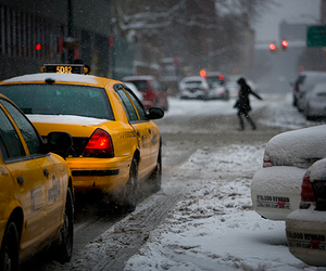 snow, taxi, and city image