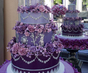 cake, purple, and wedding cake image