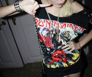 iron maiden, girl, and rock image