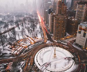 Central Park, lights, and christmas image