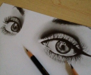 drawing, eyes, and girl image