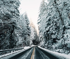 road, snow, and winter image