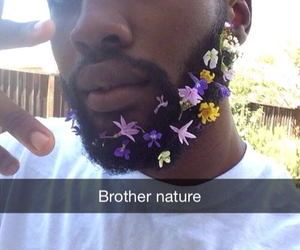 flowers, funny, and beard image