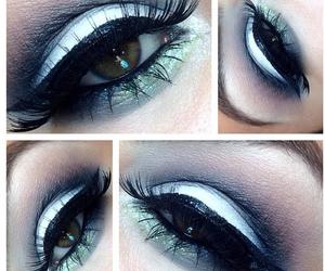 black, brunette, and eye makeup image