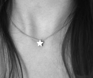 stars, necklace, and black and white image
