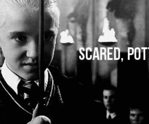harry potter, draco malfoy, and scared image