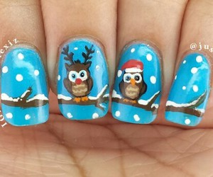 nails, owl, and winter image