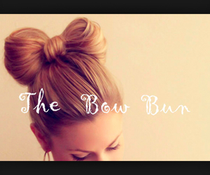bow, bun, and hairstyles image