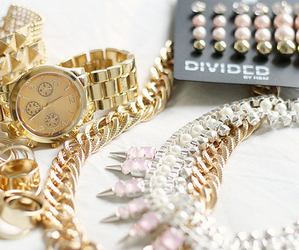 gold, watch, and accessories image