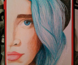 beautiful, blue hair, and colored pencils image