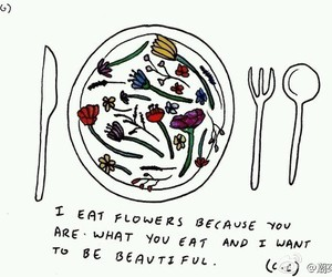 flowers, quotes, and drawing image