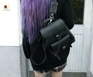 girl, grunge, and purple hair image