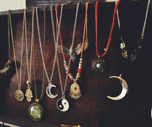 necklace, moon, and hippie image